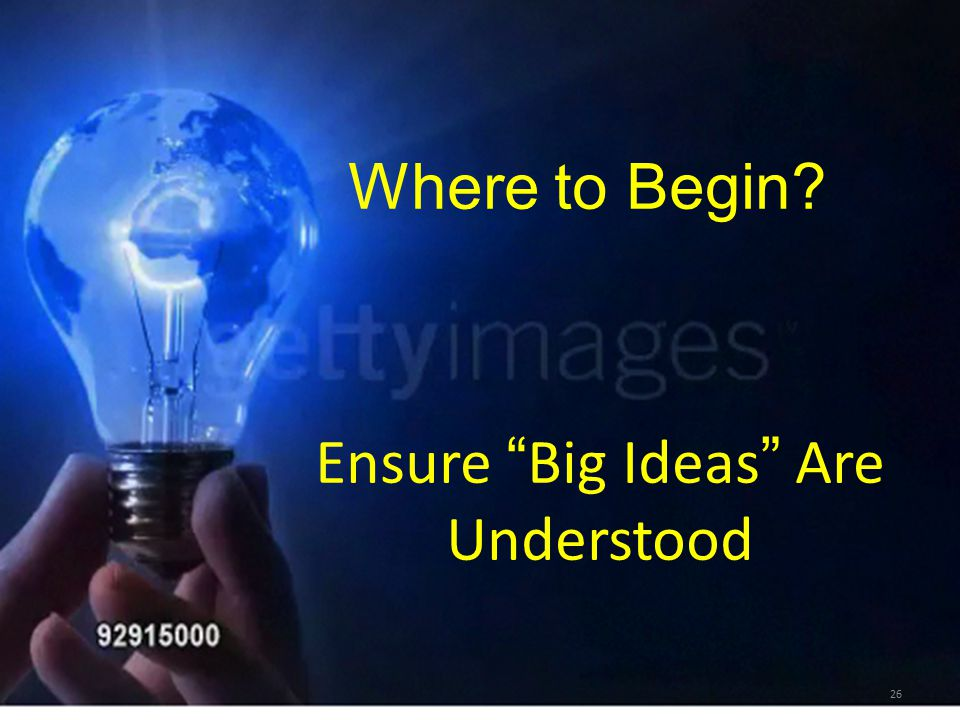 """26 Where to Begin? Ensure """" Big Ideas """" Are Understood"""