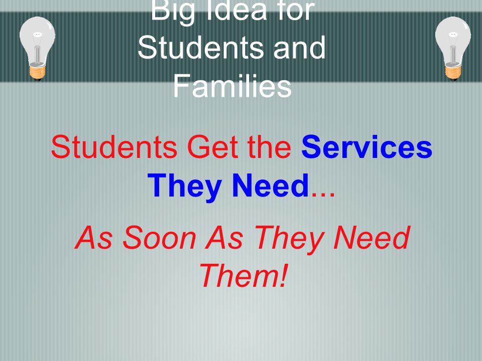 Students Get the Services They Need... As Soon As They Need Them! Big Idea for Students and Families