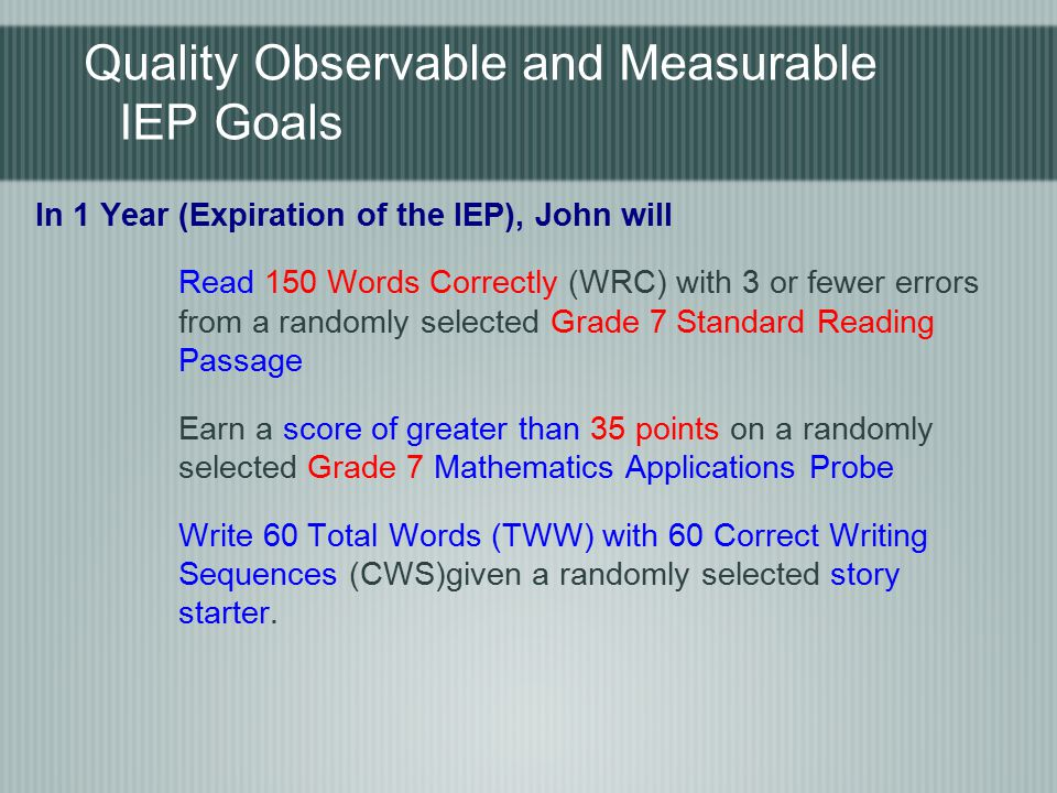 Quality Observable and Measurable IEP Goals In 1 Year (Expiration of the IEP), John will Read 150 Words Correctly (WRC) with 3 or fewer errors from a