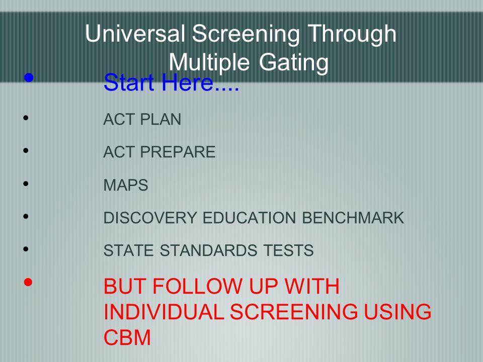 Universal Screening Through Multiple Gating Start Here....