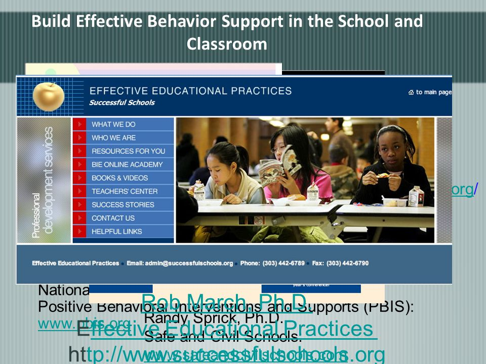 National Technical Assistance Center on Positive Behavioral Interventions and Supports (PBIS): www.pbis.org www.pbis.org Randy Sprick, Ph.D.