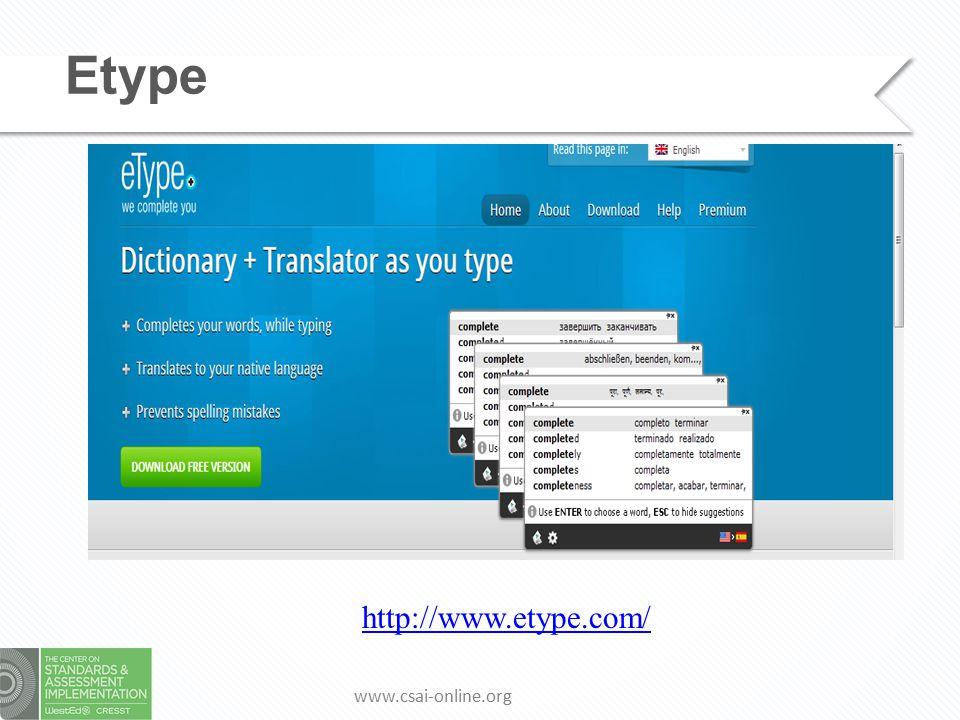 www.csai-online.org Etype http://www.etype.com/