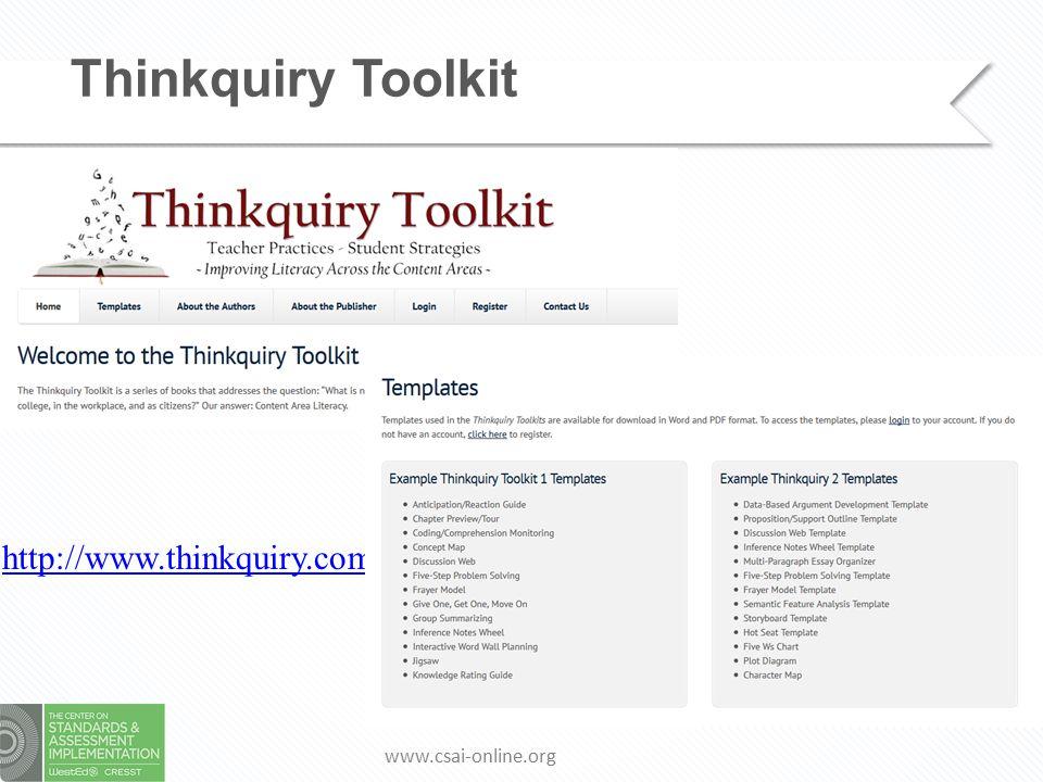 www.csai-online.org Thinkquiry Toolkit http://www.thinkquiry.com/