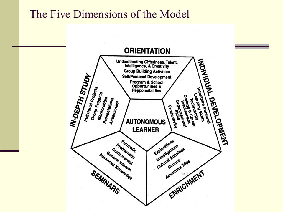 The Five Dimensions of the Model