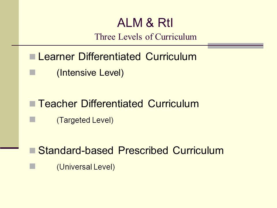 ALM & RtI Three Levels of Curriculum Learner Differentiated Curriculum (Intensive Level) Teacher Differentiated Curriculum (Targeted Level) Standard-based Prescribed Curriculum (Universal Level)