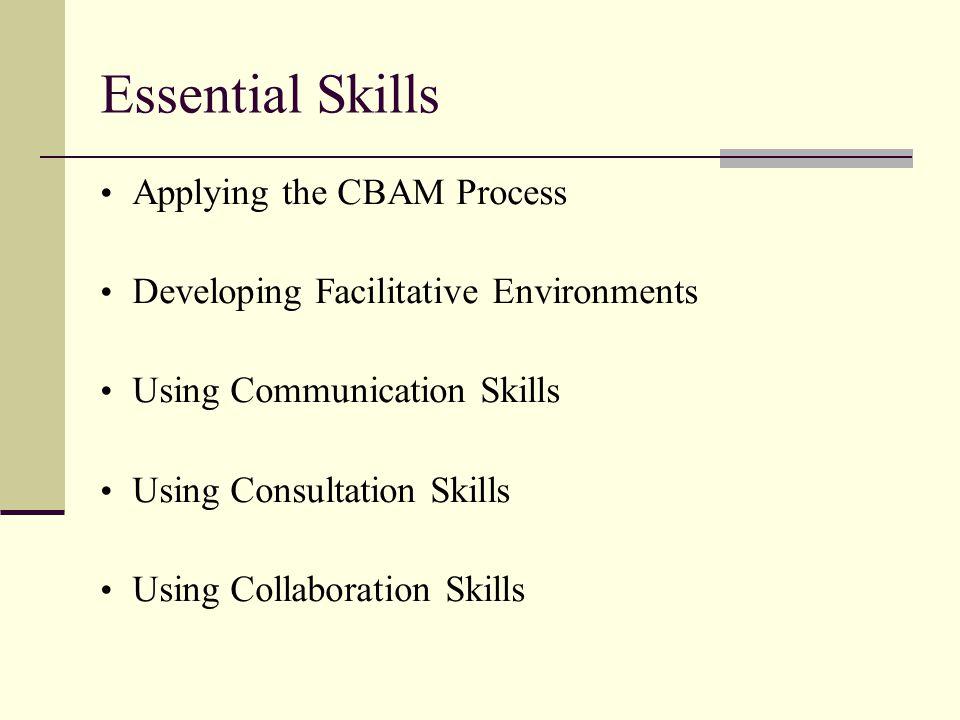 Essential Skills Applying the CBAM Process Developing Facilitative Environments Using Communication Skills Using Consultation Skills Using Collaboration Skills