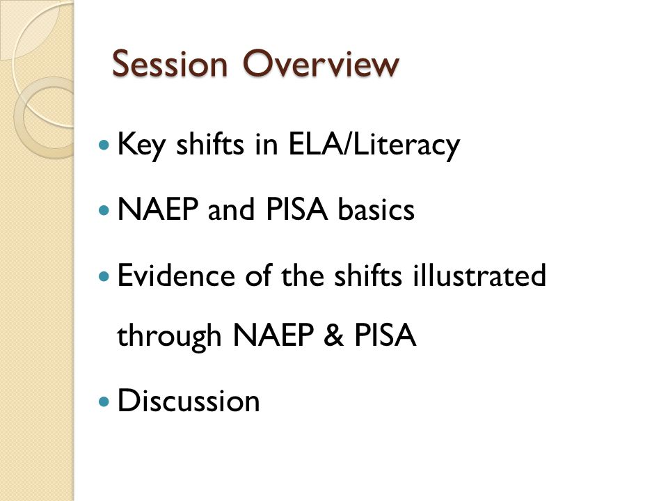 Session Overview Key shifts in ELA/Literacy NAEP and PISA basics Evidence of the shifts illustrated through NAEP & PISA Discussion
