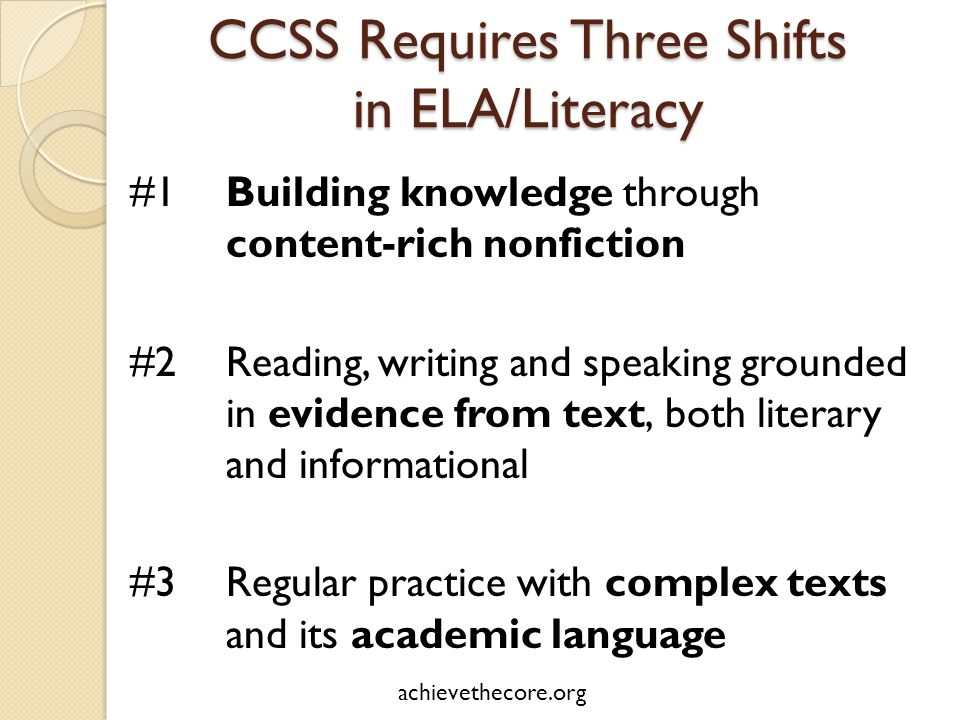 CCSS Requires Three Shifts in ELA/Literacy #1Building knowledge through content-rich nonfiction #2Reading, writing and speaking grounded in evidence from text, both literary and informational #3Regular practice with complex texts and its academic language achievethecore.org
