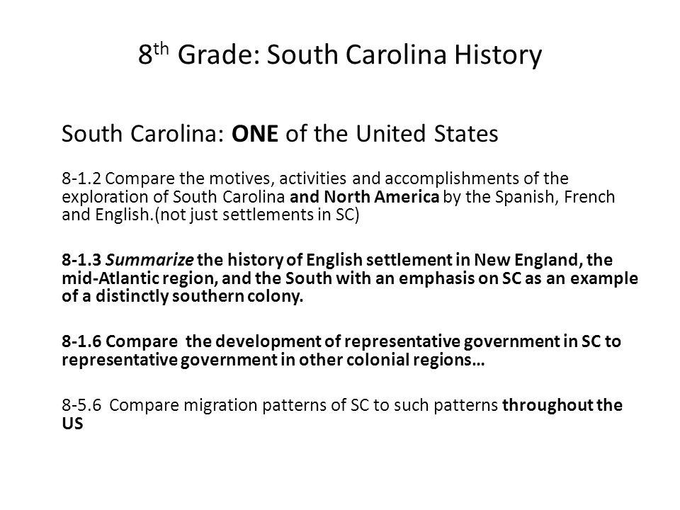 8 th Grade: South Carolina History South Carolina: ONE of the United States 8-1.2 Compare the motives, activities and accomplishments of the explorati