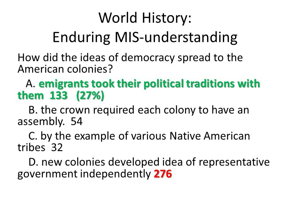 World History: Enduring MIS-understanding How did the ideas of democracy spread to the American colonies? emigrants took their political traditions wi