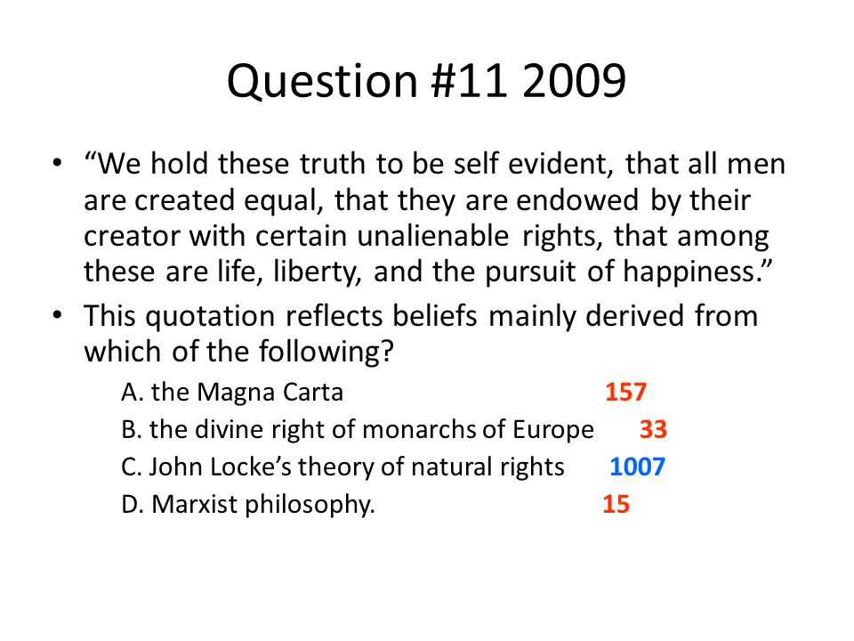 """Question #11 2009 """"We hold these truth to be self evident, that all men are created equal, that they are endowed by their creator with certain unalien"""