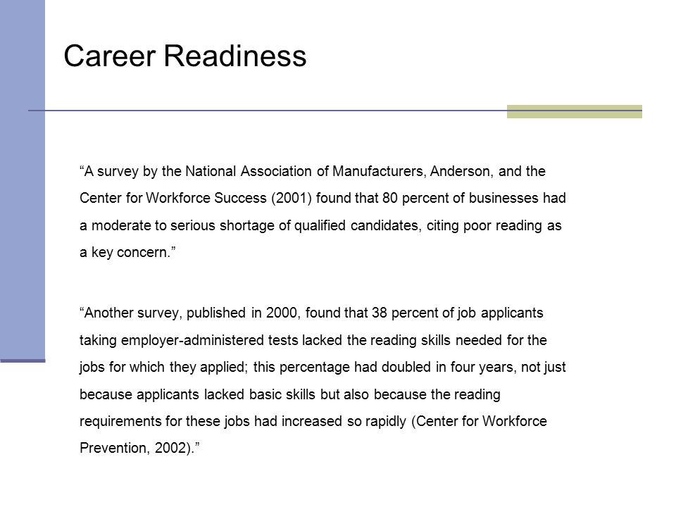 """""""A survey by the National Association of Manufacturers, Anderson, and the Center for Workforce Success (2001) found that 80 percent of businesses had"""