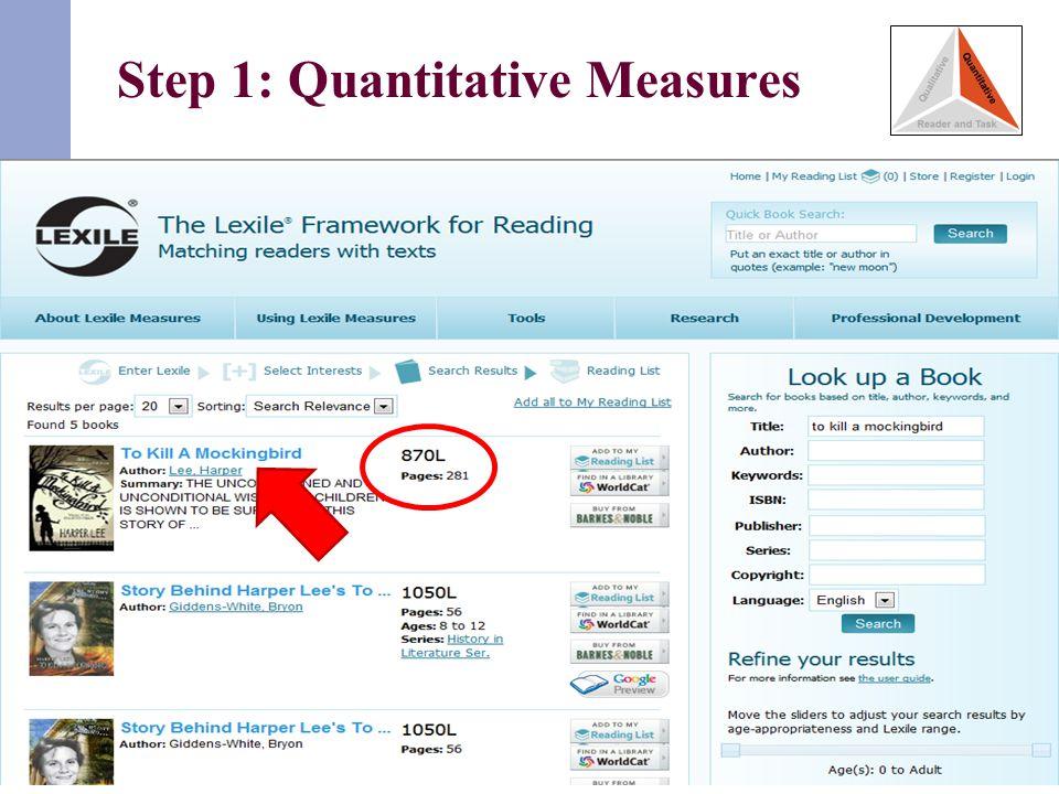 Step 1: Quantitative Measures 27