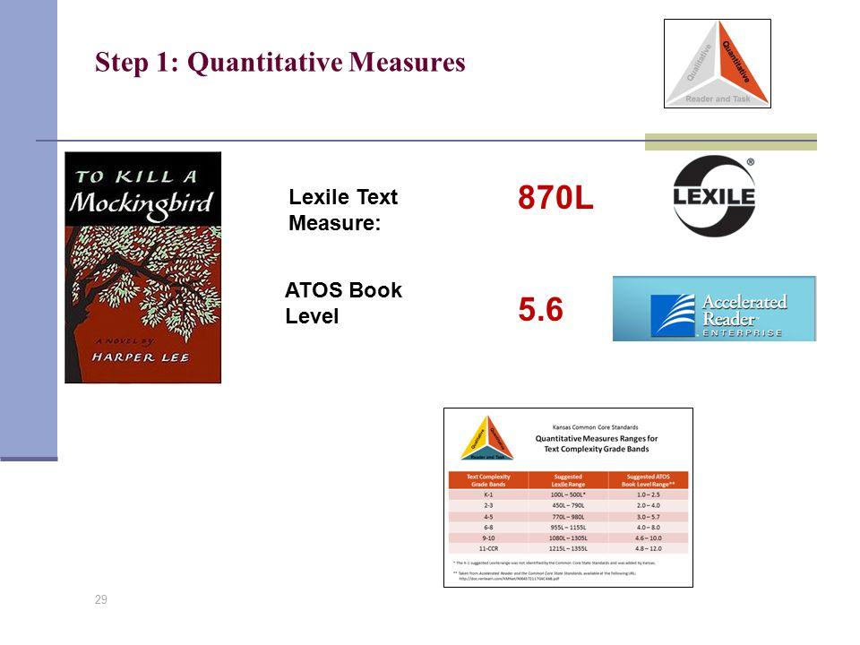 Step 1: Quantitative Measures 29 Lexile Text Measure: ATOS Book Level 870L 5.6