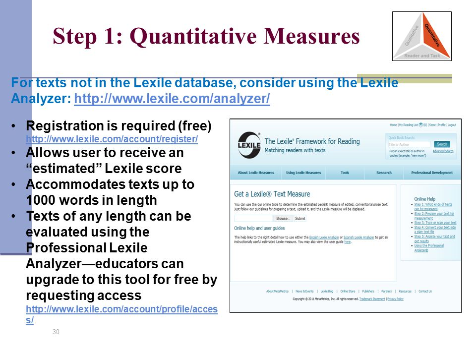 Step 1: Quantitative Measures 30 For texts not in the Lexile database, consider using the Lexile Analyzer: http://www.lexile.com/analyzer/http://www.l