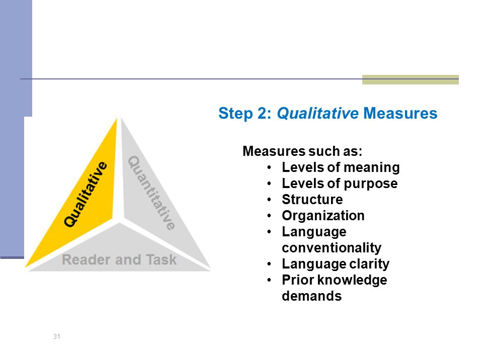 31 Step 2: Qualitative Measures Measures such as: Levels of meaning Levels of purpose Structure Organization Language conventionality Language clarity