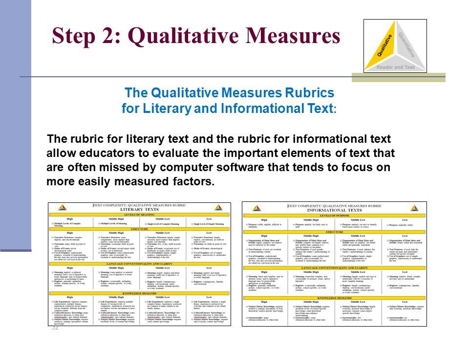 Step 2: Qualitative Measures 32 The Qualitative Measures Rubrics for Literary and Informational Text : The rubric for literary text and the rubric for