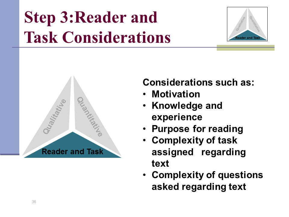 36 Considerations such as: Motivation Knowledge and experience Purpose for reading Complexity of task assigned regarding text Complexity of questions