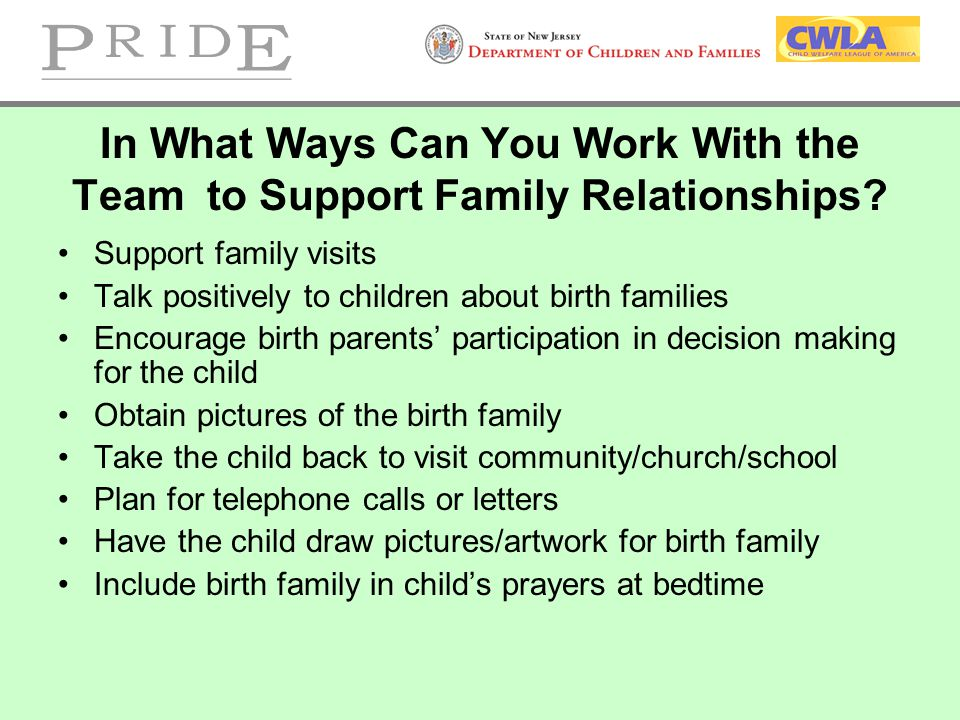 In What Ways Can You Work With the Team to Support Family Relationships? Support family visits Talk positively to children about birth families Encour