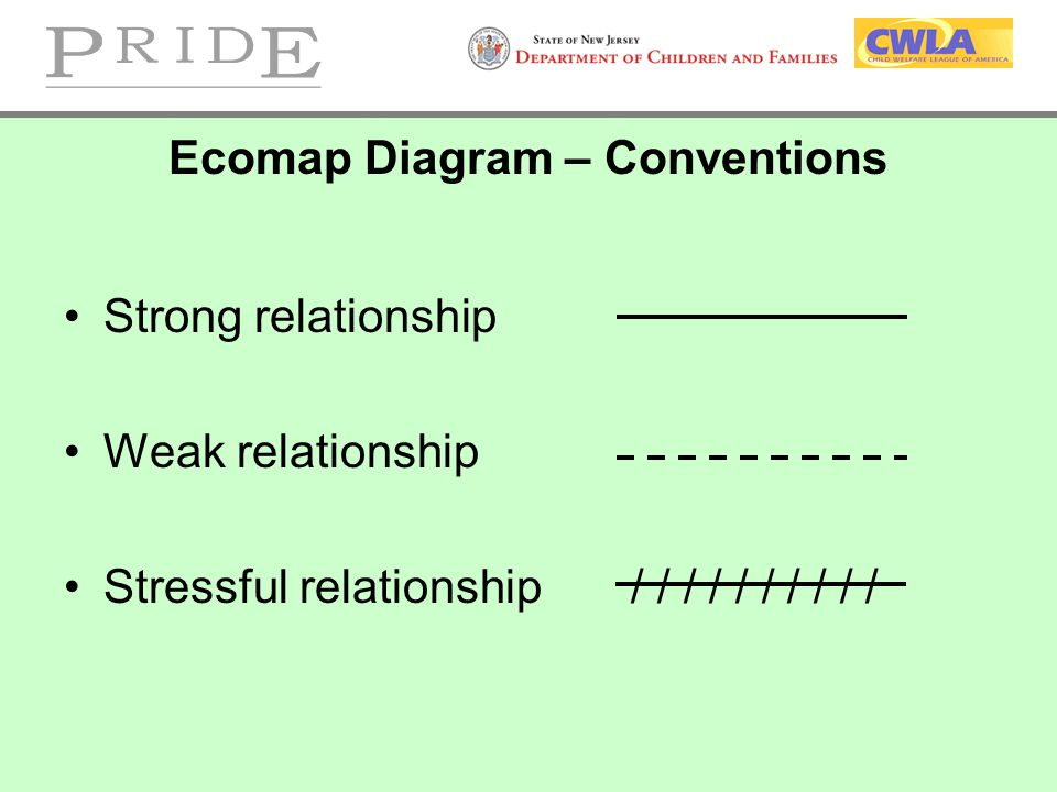 Ecomap Diagram – Conventions Strong relationship Weak relationship Stressful relationship / / / / / / / / / /
