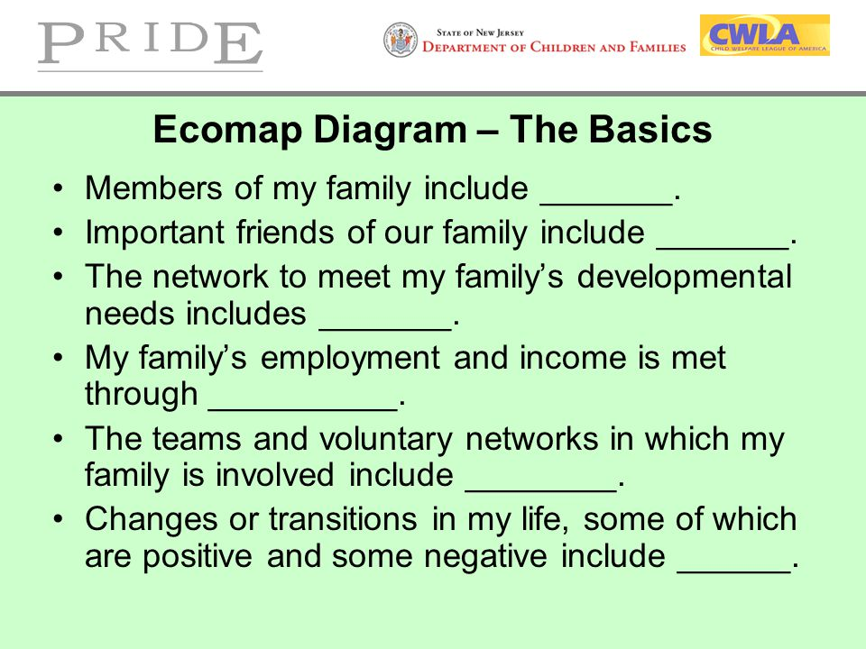 Ecomap Diagram – The Basics Members of my family include _______. Important friends of our family include _______. The network to meet my family's dev
