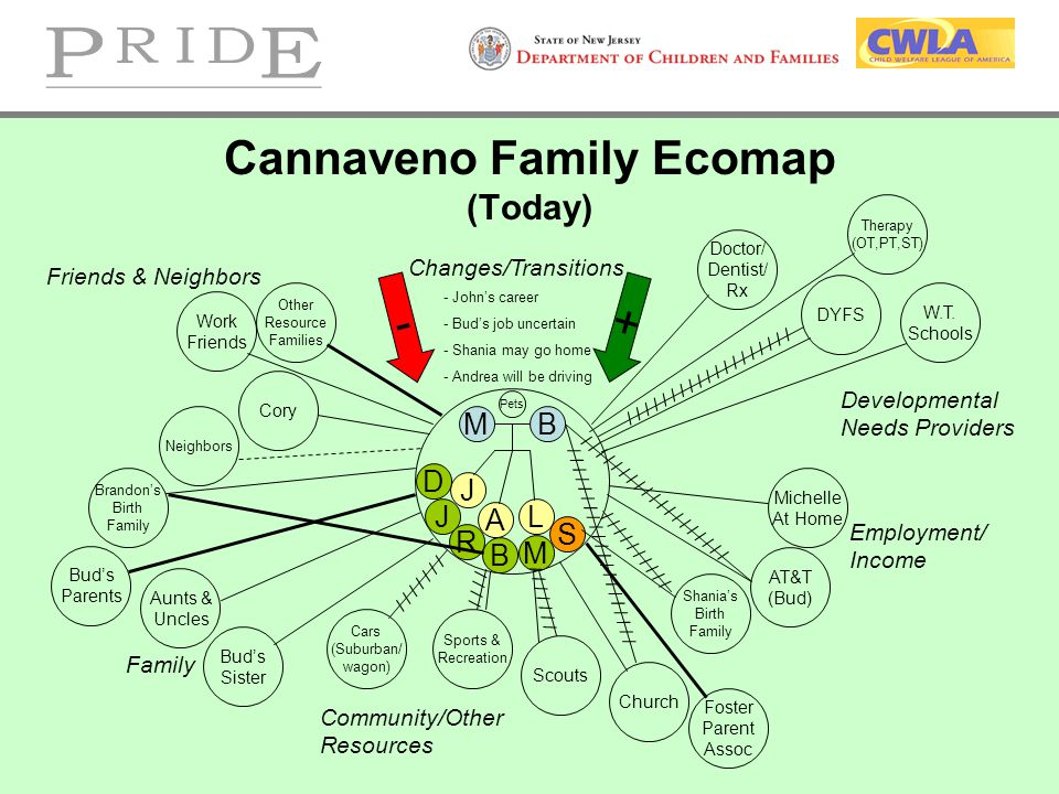 Cannaveno Family Ecomap (Today) MB J A L - + Family Employment/ Income Work Friends Neighbors Bud's Parents Bud's Sister Aunts & Uncles / / / / / / /