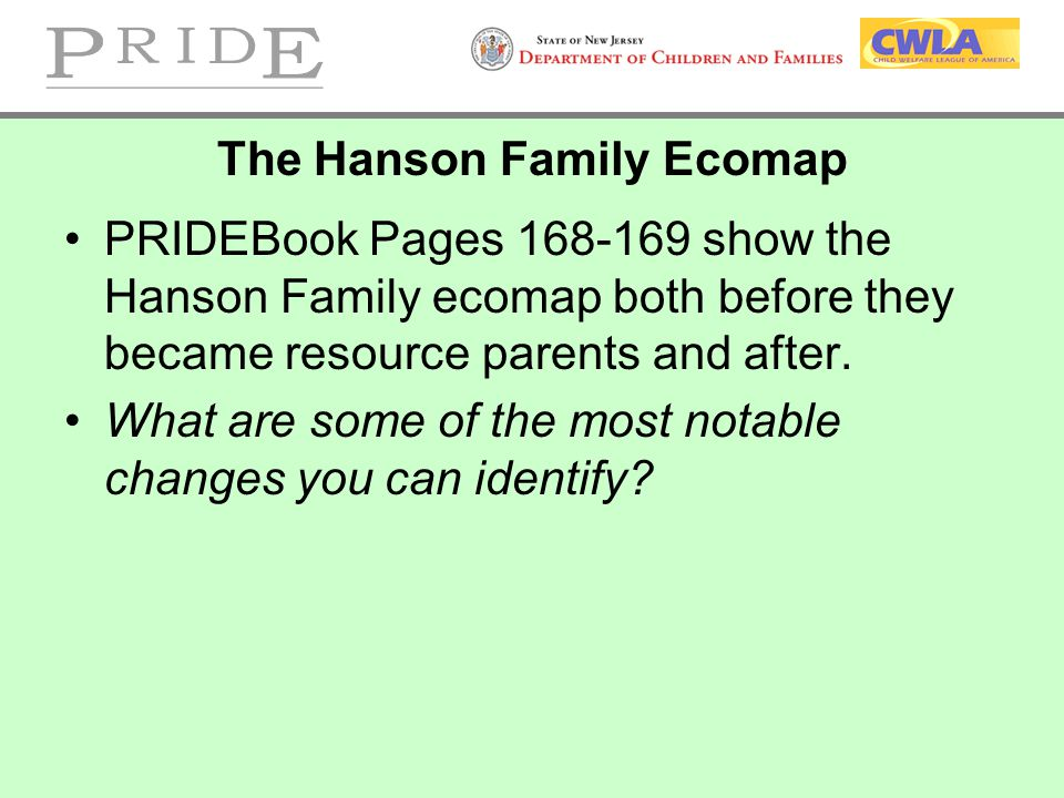 The Hanson Family Ecomap PRIDEBook Pages 168-169 show the Hanson Family ecomap both before they became resource parents and after. What are some of th
