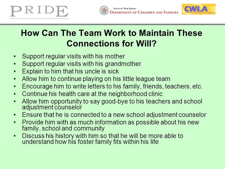 How Can The Team Work to Maintain These Connections for Will? Support regular visits with his mother Support regular visits with his grandmother Expla