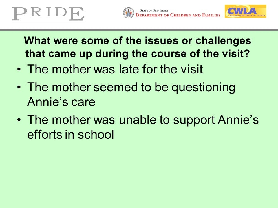 What were some of the issues or challenges that came up during the course of the visit? The mother was late for the visit The mother seemed to be ques