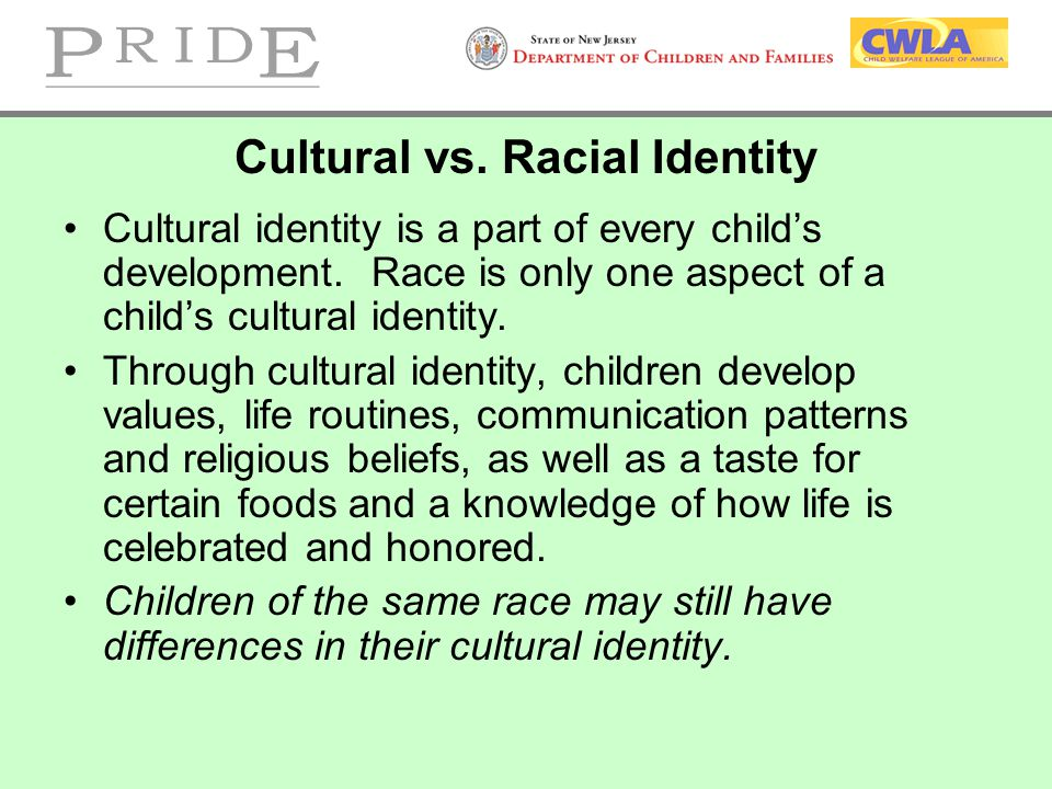 Cultural vs. Racial Identity Cultural identity is a part of every child's development. Race is only one aspect of a child's cultural identity. Through