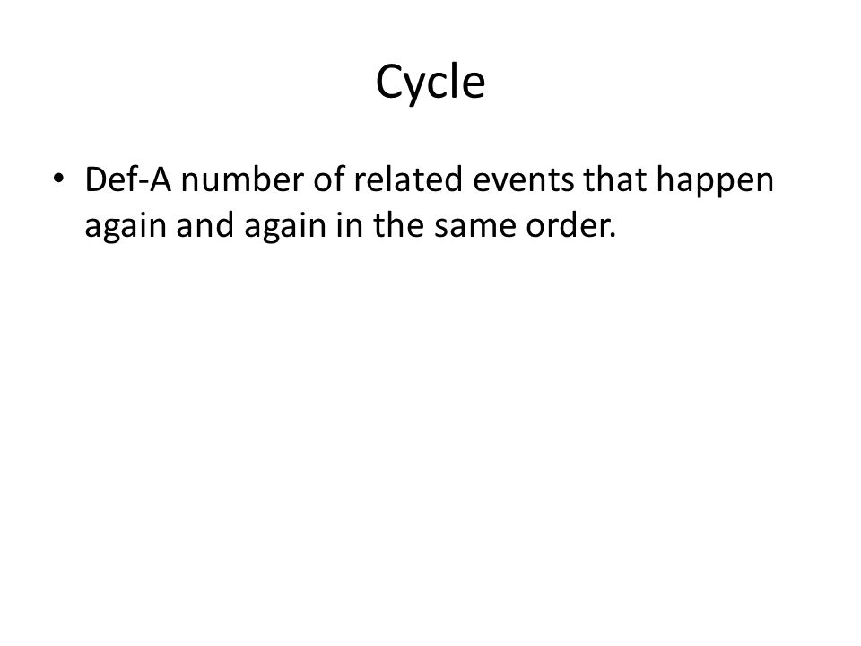 Cycle Def-A number of related events that happen again and again in the same order.
