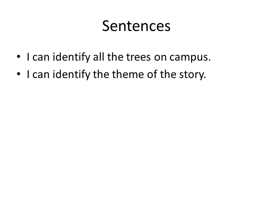 Sentences I can identify all the trees on campus. I can identify the theme of the story.
