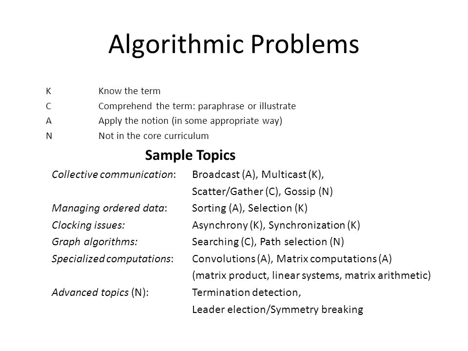 Algorithmic Problems K Know the term C Comprehend the term: paraphrase or illustrate A Apply the notion (in some appropriate way) N Not in the core curriculum Sample Topics Collective communication: Broadcast (A), Multicast (K), Scatter/Gather (C), Gossip (N) Managing ordered data: Sorting (A), Selection (K) Clocking issues: Asynchrony (K), Synchronization (K) Graph algorithms: Searching (C), Path selection (N) Specialized computations: Convolutions (A), Matrix computations (A) (matrix product, linear systems, matrix arithmetic) Advanced topics (N): Termination detection, Leader election/Symmetry breaking