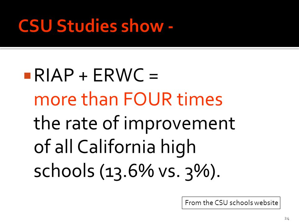  RIAP + ERWC = more than FOUR times the rate of improvement of all California high schools (13.6% vs.
