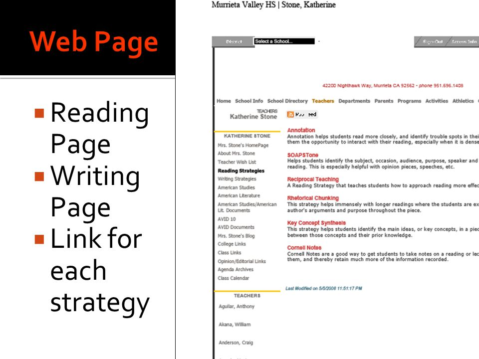  Reading Page  Writing Page  Link for each strategy