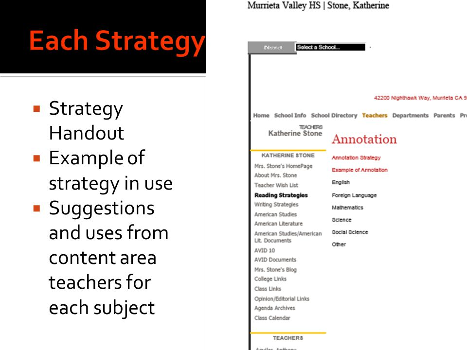  Strategy Handout  Example of strategy in use  Suggestions and uses from content area teachers for each subject