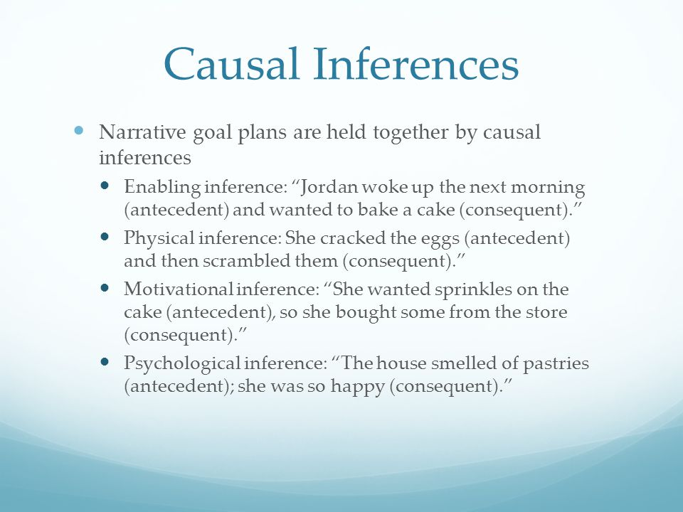 Importance of Goal Plans and Causal Inferences Their role in narrative comprehension Increase memory for narrative events during recall Aid in retention when narratives are relatively long Lead to more generated inferences Lutz & Radvansky, 1997; Lynch et al., 2008; Wenner, 2004