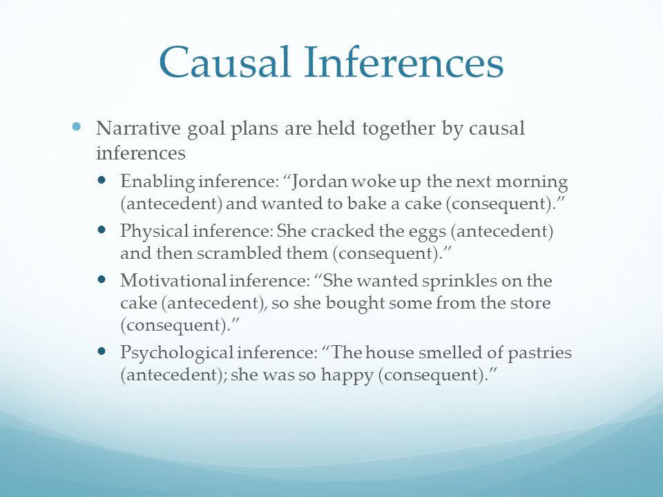 "Causal Inferences Narrative goal plans are held together by causal inferences Enabling inference: ""Jordan woke up the next morning (antecedent) and wa"