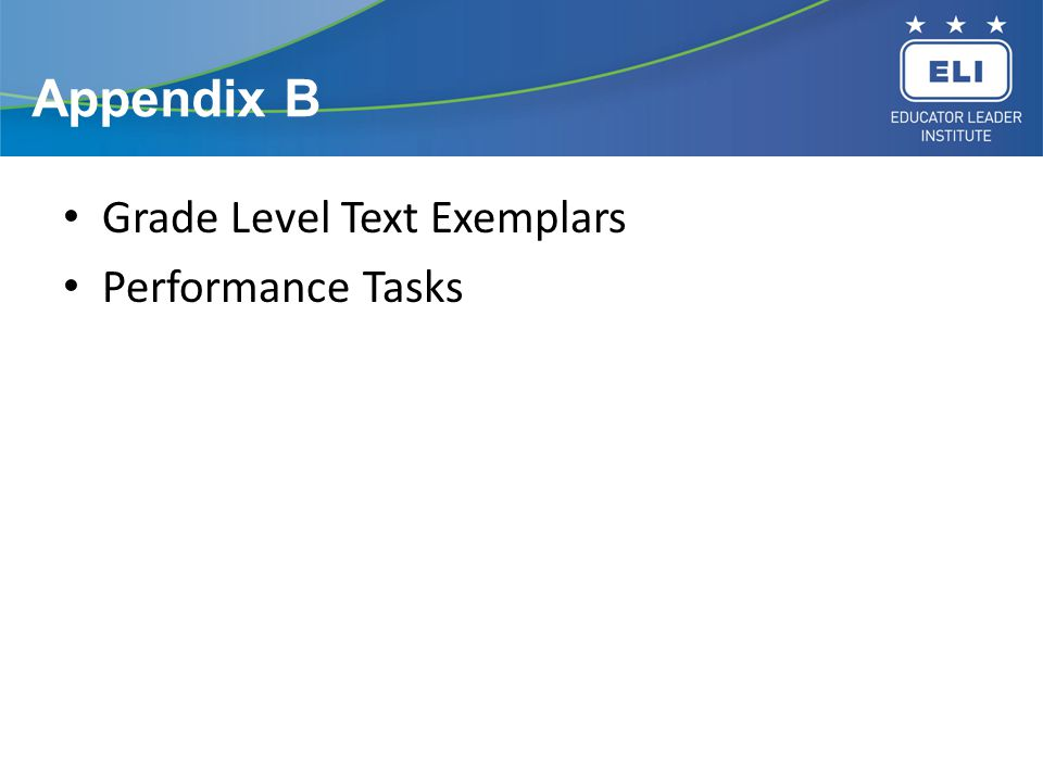 Appendix B Grade Level Text Exemplars Performance Tasks