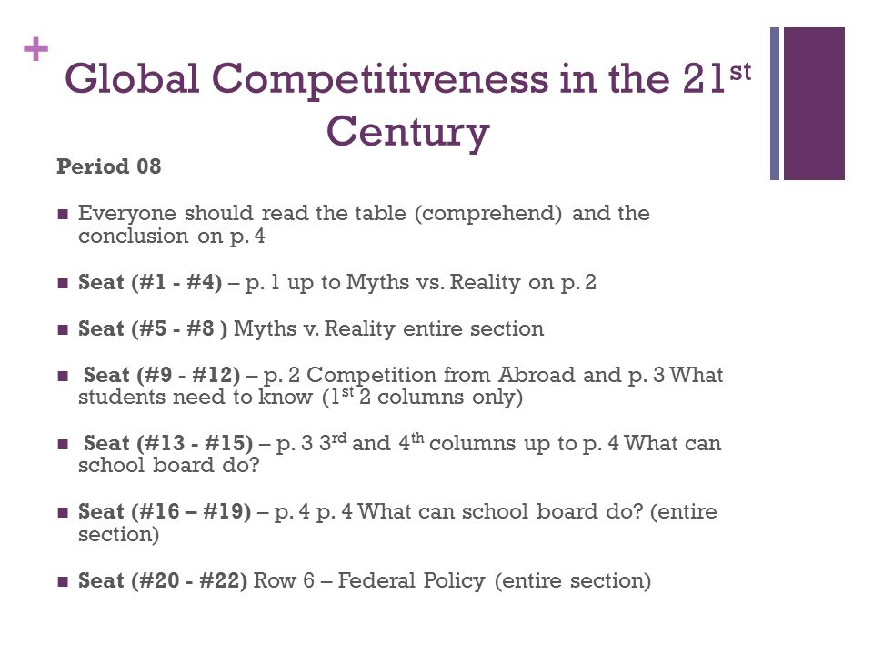 + Global Competitiveness in the 21 st Century Period 08 Everyone should read the table (comprehend) and the conclusion on p. 4 Seat (#1 - #4) – p. 1 u