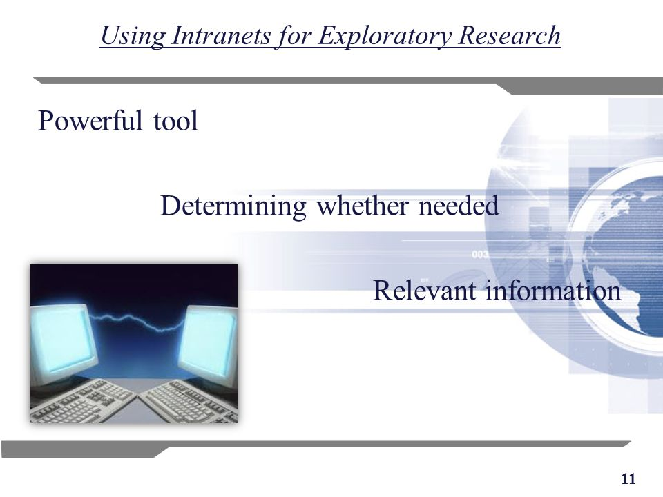 11 Using Intranets for Exploratory Research Powerful tool Determining whether needed Relevant information