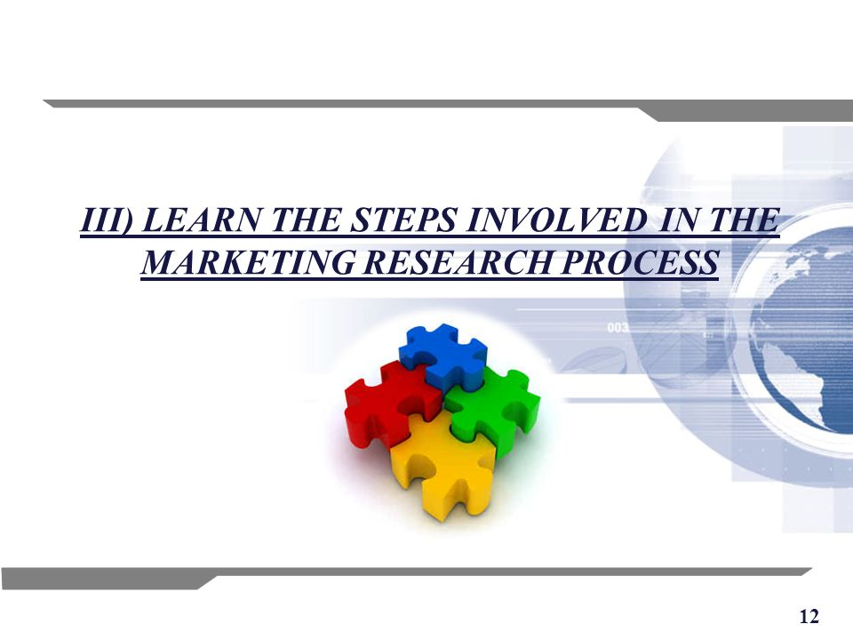 12 III) LEARN THE STEPS INVOLVED IN THE MARKETING RESEARCH PROCESS