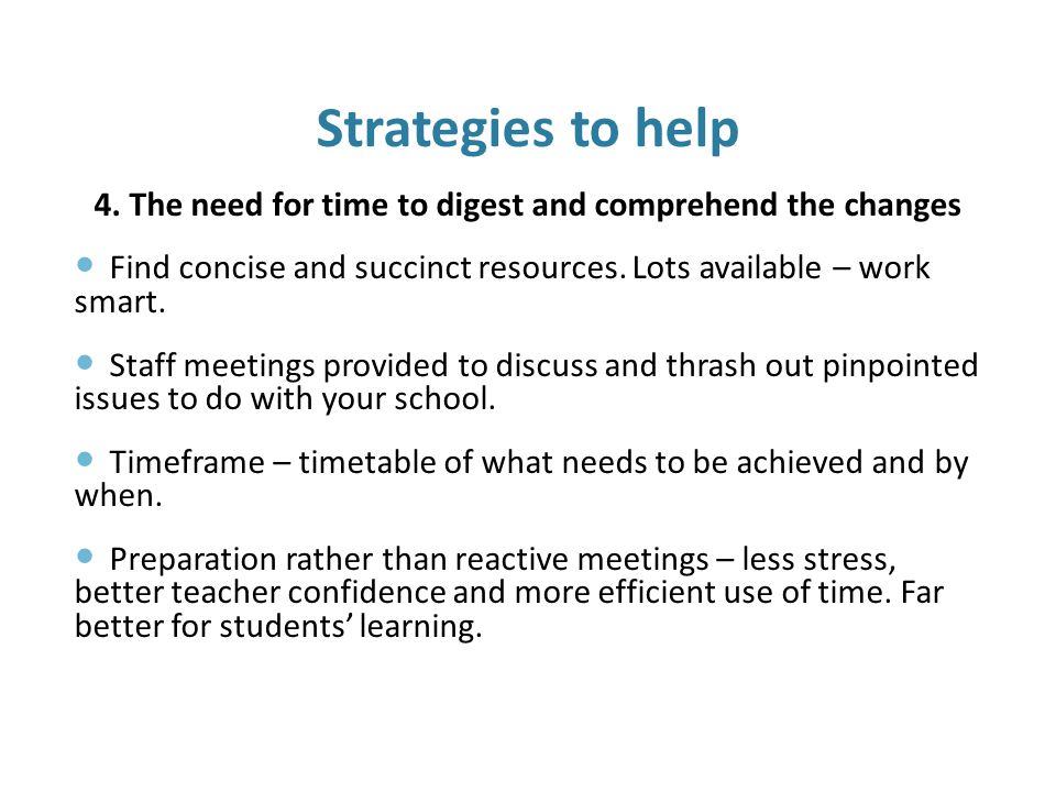 Strategies to help 4.