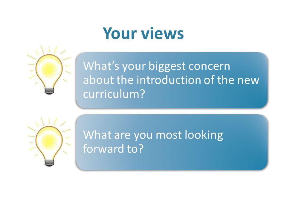 Your views What's your biggest concern about the introduction of the new curriculum.