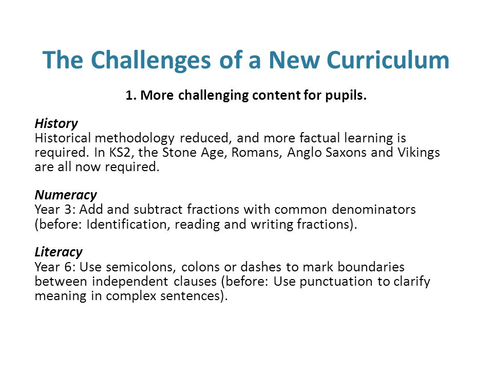 Strategies to help 1.More challenging content for pupils.