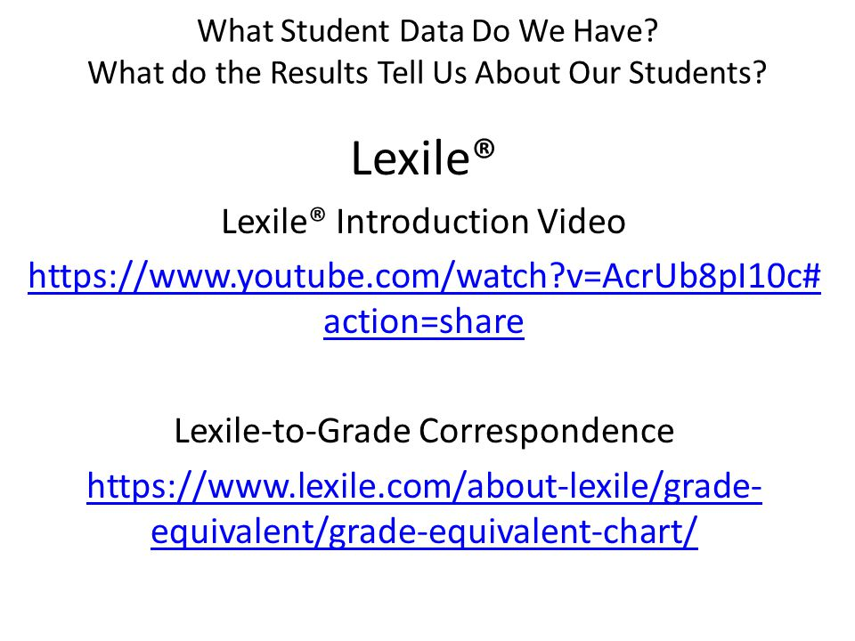 What Student Data Do We Have. What do the Results Tell Us About Our Students.