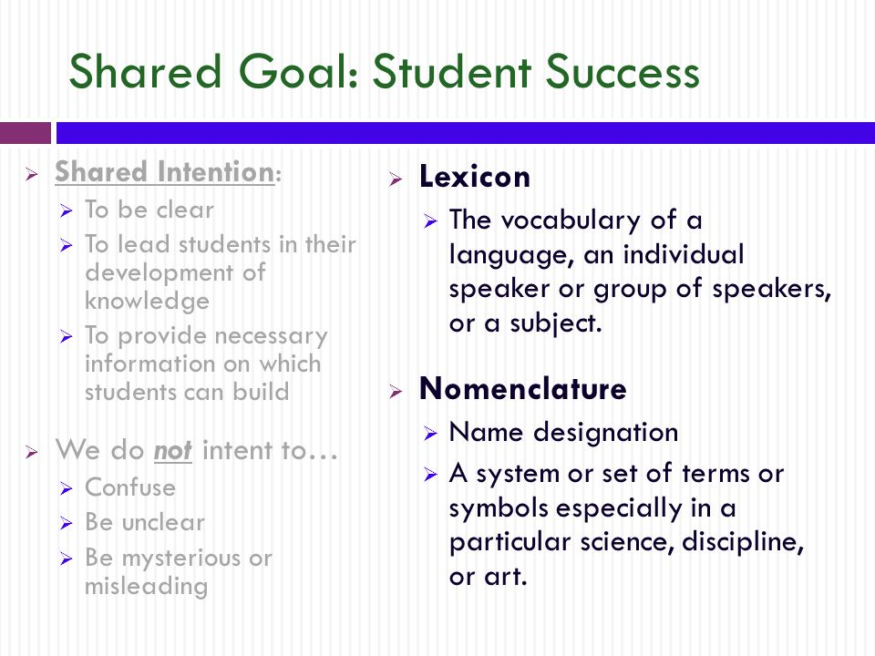 Shared Goal: Student Success  Shared Intention:  To be clear  To lead students in their development of knowledge  To provide necessary information on which students can build  We do not intent to…  Confuse  Be unclear  Be mysterious or misleading  Lexicon  The vocabulary of a language, an individual speaker or group of speakers, or a subject.