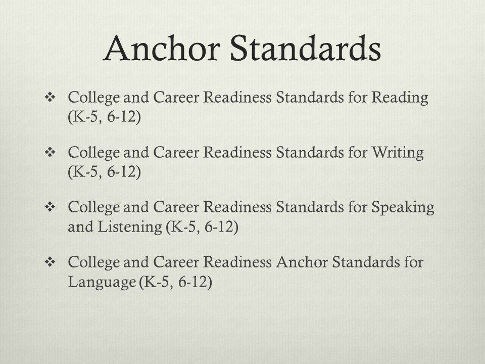 Anchor Standards  College and Career Readiness Standards for Reading (K-5, 6-12)  College and Career Readiness Standards for Writing (K-5, 6-12)  College and Career Readiness Standards for Speaking and Listening (K-5, 6-12)  College and Career Readiness Anchor Standards for Language (K-5, 6-12)