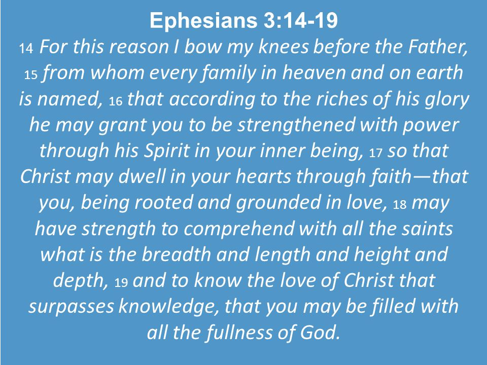 Ephesians 3:14-19 14 For this reason I bow my knees before the Father, 15 from whom every family in heaven and on earth is named, 16 that according to