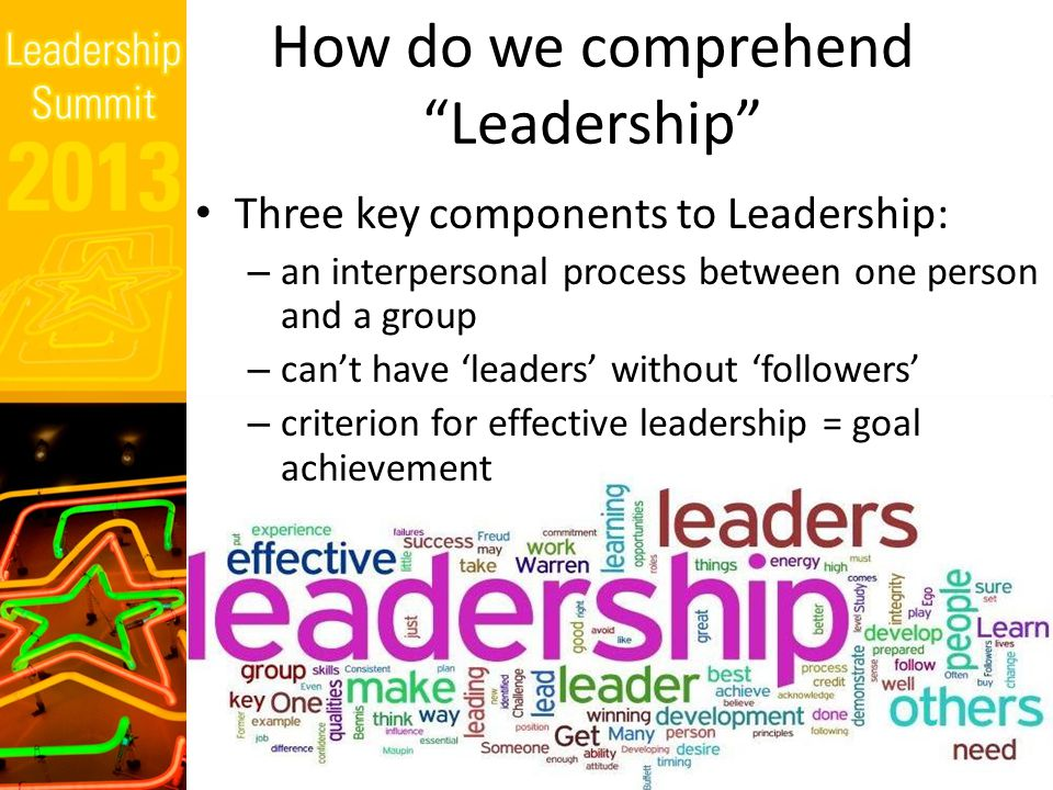 Leadership Myths  Leadership is power (with people rather than over people)  Leaders are born (but leaders are also made )  All groups have leaders (large groups tend to require a leader)  People resist their leaders (most groups accept the need for a leader)  Great Man Theory